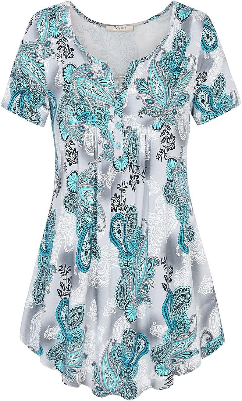 Bebonnie Women's Vintage Short Sleeve V Neck Pleated Tunic Shirt