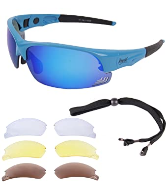 Rapid Eyewear GAFAS DE SOL DE CICLISMO Edge Blue Cycle para Correr, montar en bicicleta de montaña. Cristales intercambiables. Para hombre y mujer