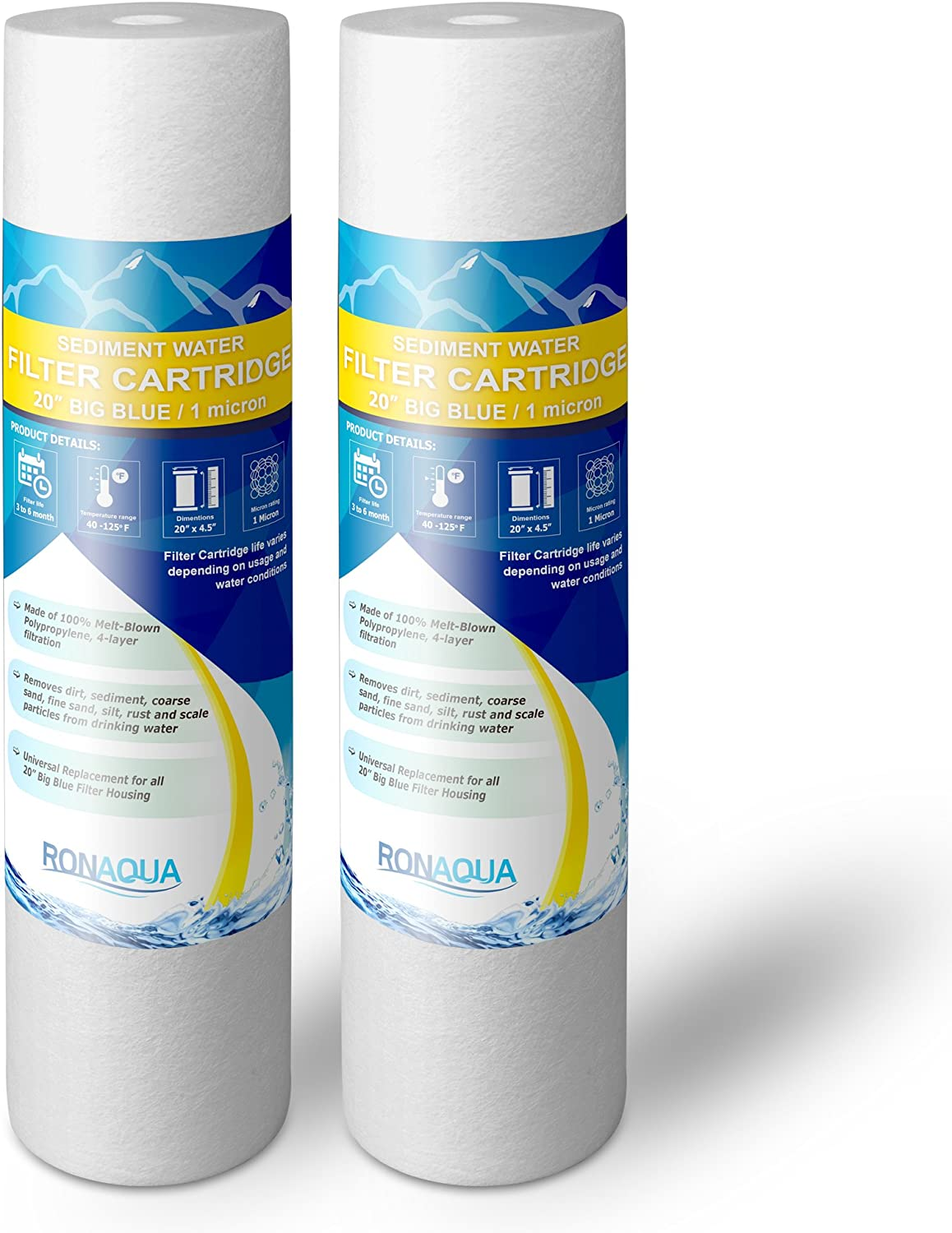 """Big Blue Sediment Replacement Water Filters 1 Micron 4.5""""x 20"""" Cartridges by Ronaqua WELL-MATCHED with 155358-43, 2PP20BB1M, AP810-2, FPMB-BB5-20, FP25B, P5-20BB, SDC-45-2005 (2 Pack, 20"""")"""