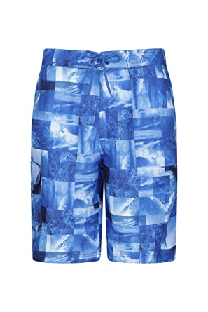 acbf5dc3e9 Mountain Warehouse Ocean Printed Mens Boardshorts - Quick Drying Swim Shorts,  2 Side Pockets Beach