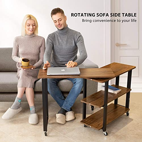 VIVOHOME Sofa Side Table 360 Rotating Mobile End Table Movable Laptop Table