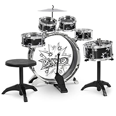 Best Choice Products 11-Piece Kids Starter Drum Set w/Bass Drum, Tom Drums, Snare, Cymbal, Stool, Drumsticks - Black: Toys & Games