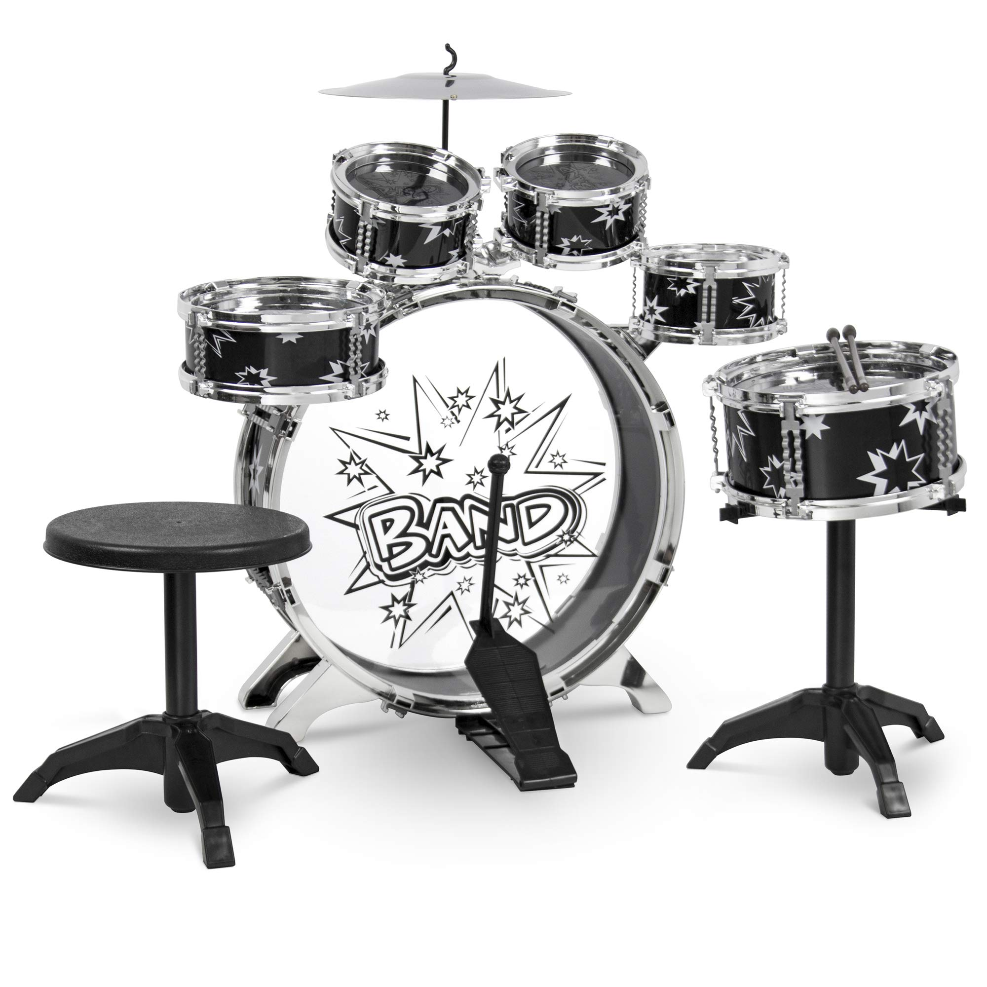 Best Choice Products 11-Piece Kids Starter Drum Set for Beginner Learning, Motor Development, Creativity, Musical Skill w/ Bass Drum, Tom Drums, Snare, Cymbal, Stool, Drumsticks - Black by Best Choice Products
