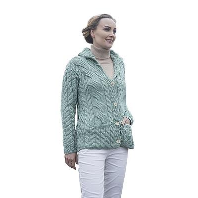 Ladies Irish Buttoned Cabled Super Soft Merino Wool Cardigan (XLarge, Seafoam Green) at Amazon Women's Clothing store