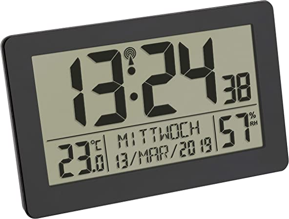 TFA Dostmann - Reloj Digital de Pared con Radio (Pantalla Grande, indicador de Temperatura, Fecha, día de la Semana, plástico, 206 x 30 x 130 mm): Amazon.es: Hogar