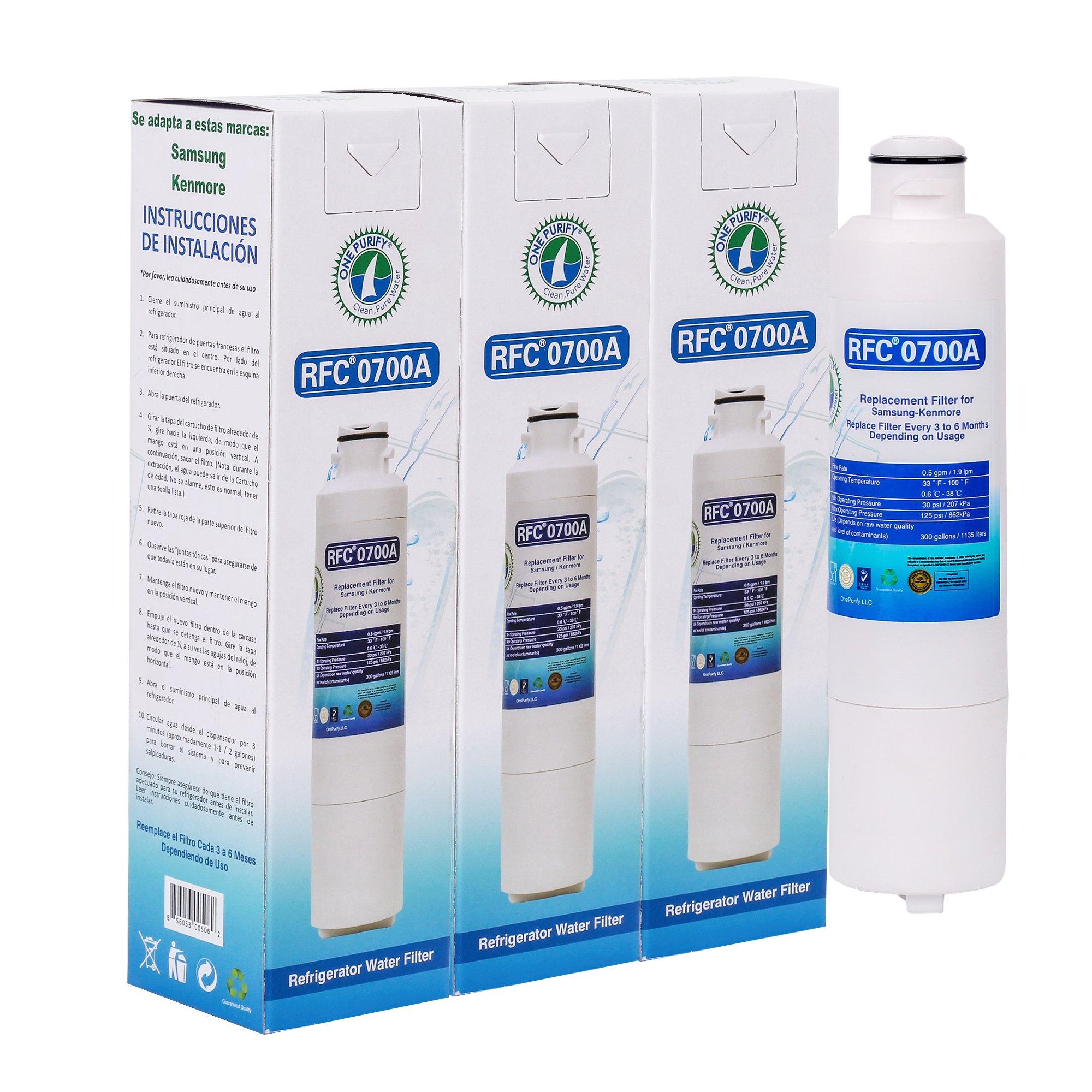 Compatible Replacement for Samsung DA29-00020B, DA29-00020A, DA2900019A, HAF-CIN/EXP, HAF-CIN-EXP, Kenmore 46-9101 Refrigerator Water Filter Cartridge by OnePurify RFC0700A 3PK