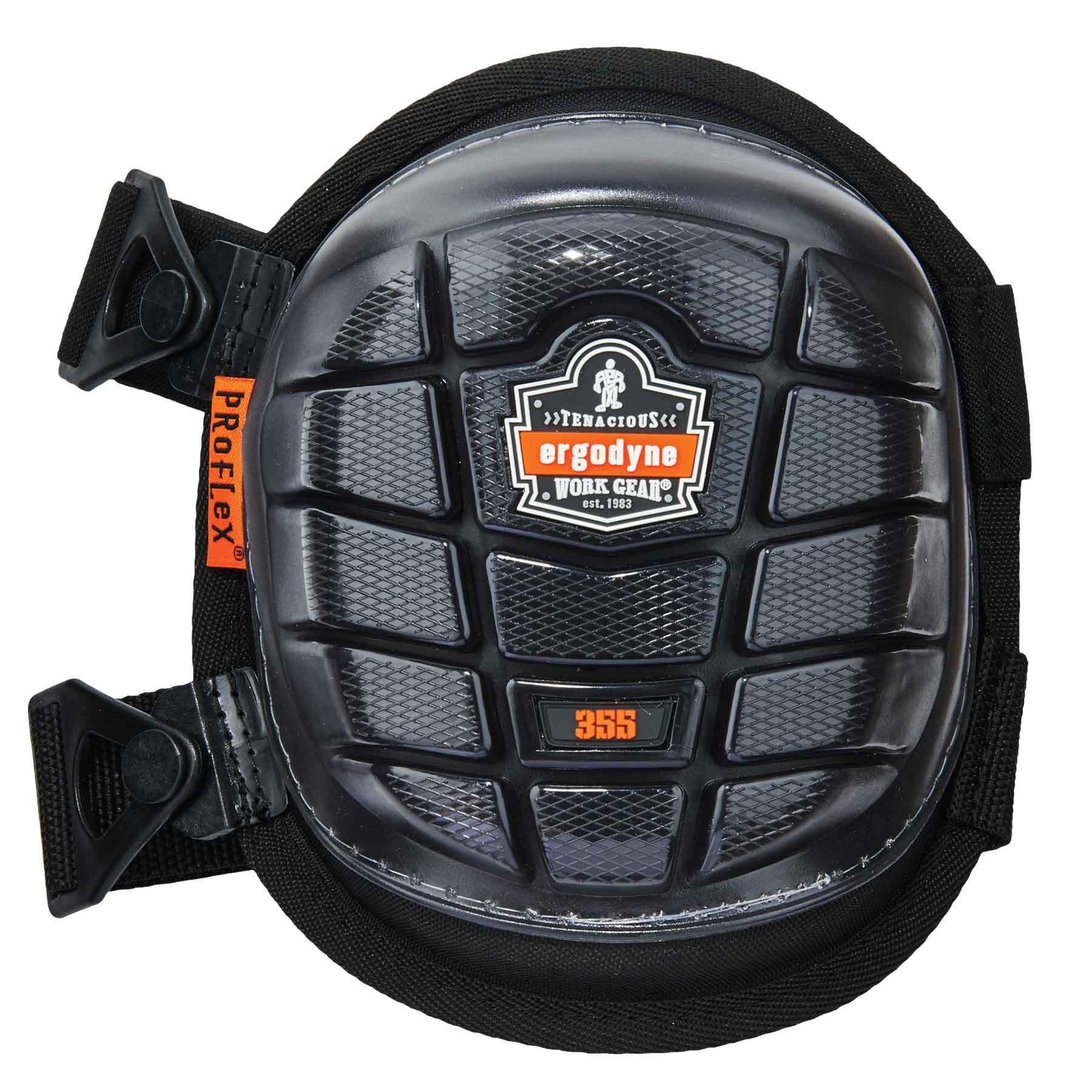 Ergodyne ProFlex 355 Professional Knee Pads, Protective Short Cap, Injected Gel Padded Technology, Adjustable Straps, Black