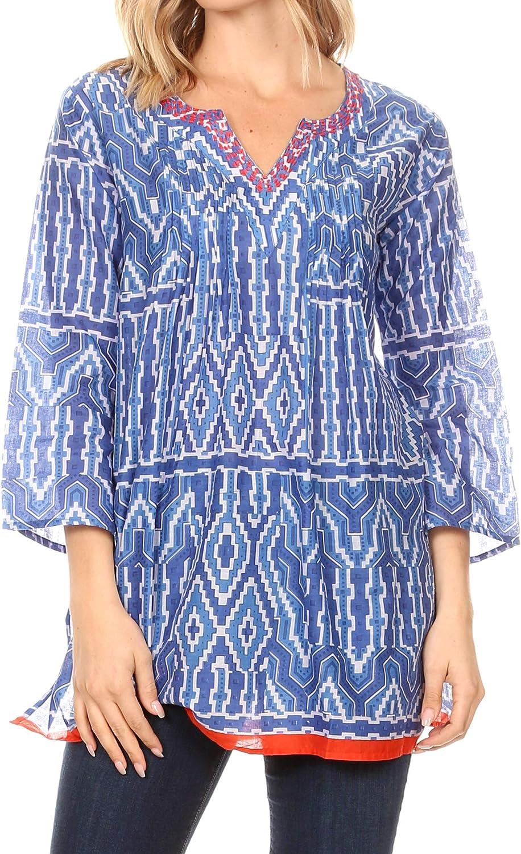 Sakkas Sasa Womens Casual Summer Cotton 3//4 Sleeve Print Loose Tunic Top Blouse