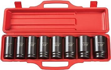 8-Sockets Inch 4790 Cr-V 3//4-Inch 5//16-Inch 6-Point TEKTON 3//8-Inch Drive Shallow Impact Socket Set