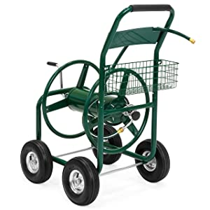 Best Choice Products 300ft Water Hose Reel Cart w/Basket for Outdoor Garden, Heavy Duty Yard Water Planting - Green