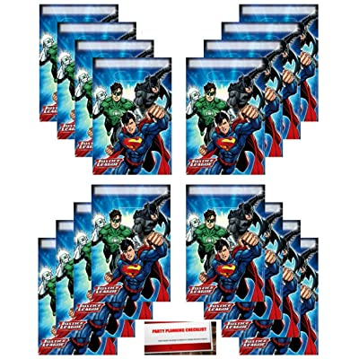 Justice League 16 Pack Party Plastic Loot Treat Candy Favor Bags (Plus Party Planning Checklist by Mikes Super Store): Toys & Games