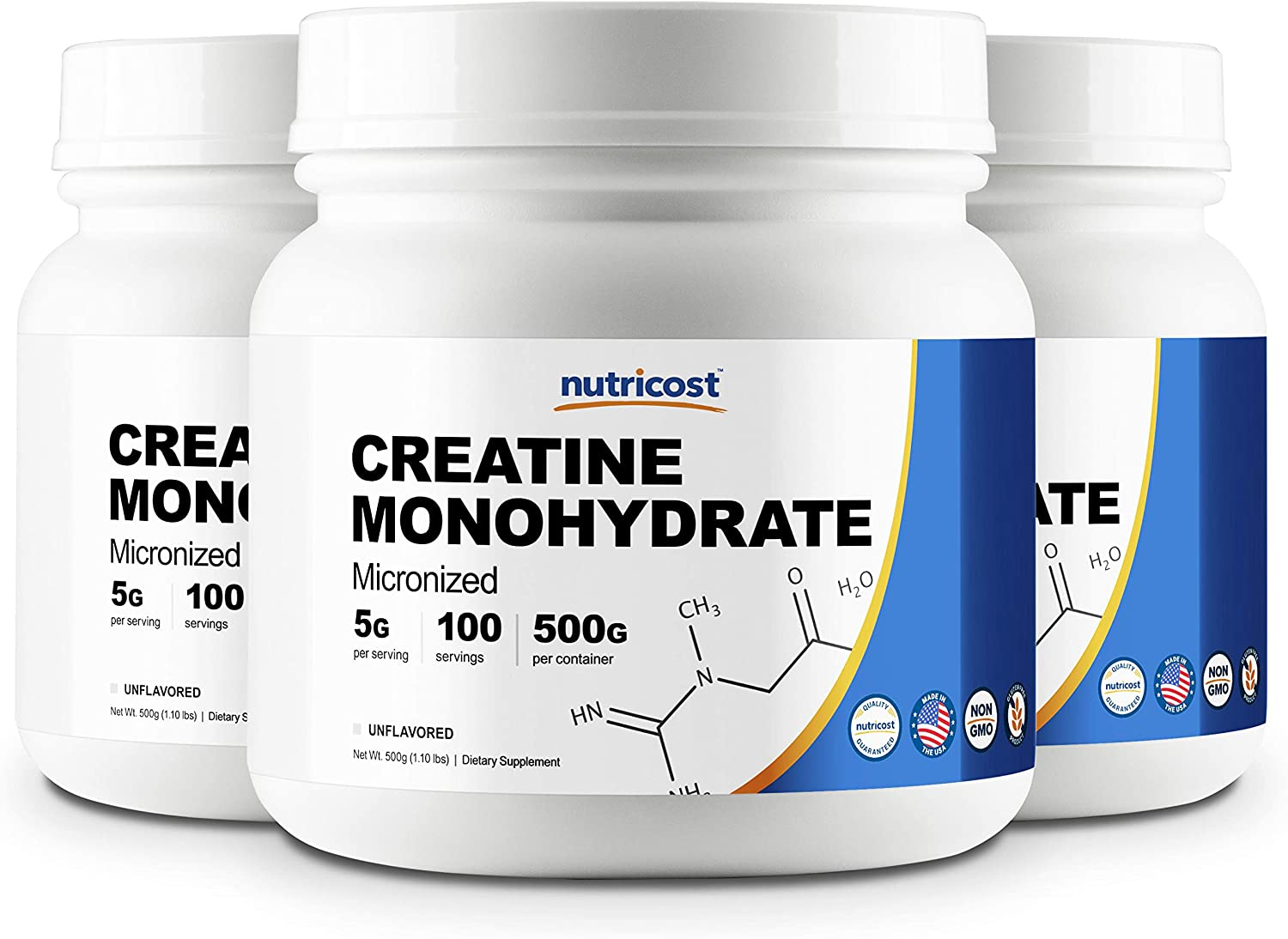 Nutricost Creatine Monohydrate 500G 3 Pack – 5000mg Per Serv, 500G and 400 Servings Each – Pure Creatine Monohydrate – Explosive Energy Power