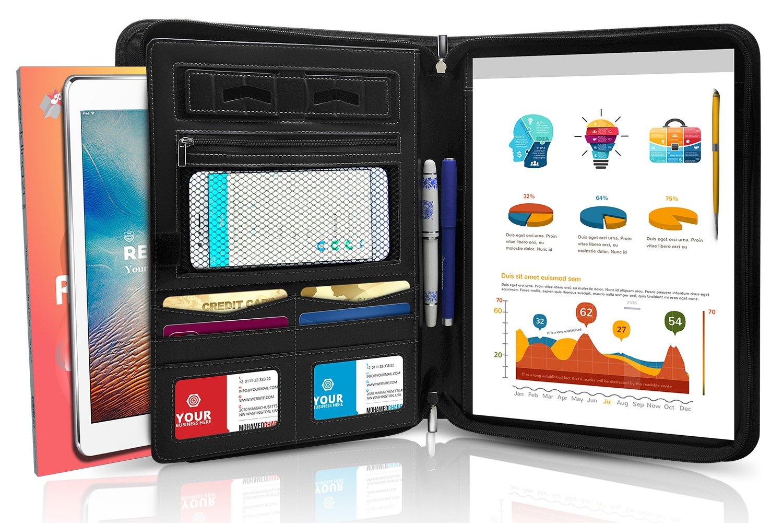 "Padfolio Portfolio Zipper Binder - Best Resume Business Portfolio Folder with Leather Phone Stand, Internal Holders for iPad/Tablet (up to 10.2"") & Bonus Writing Pad"