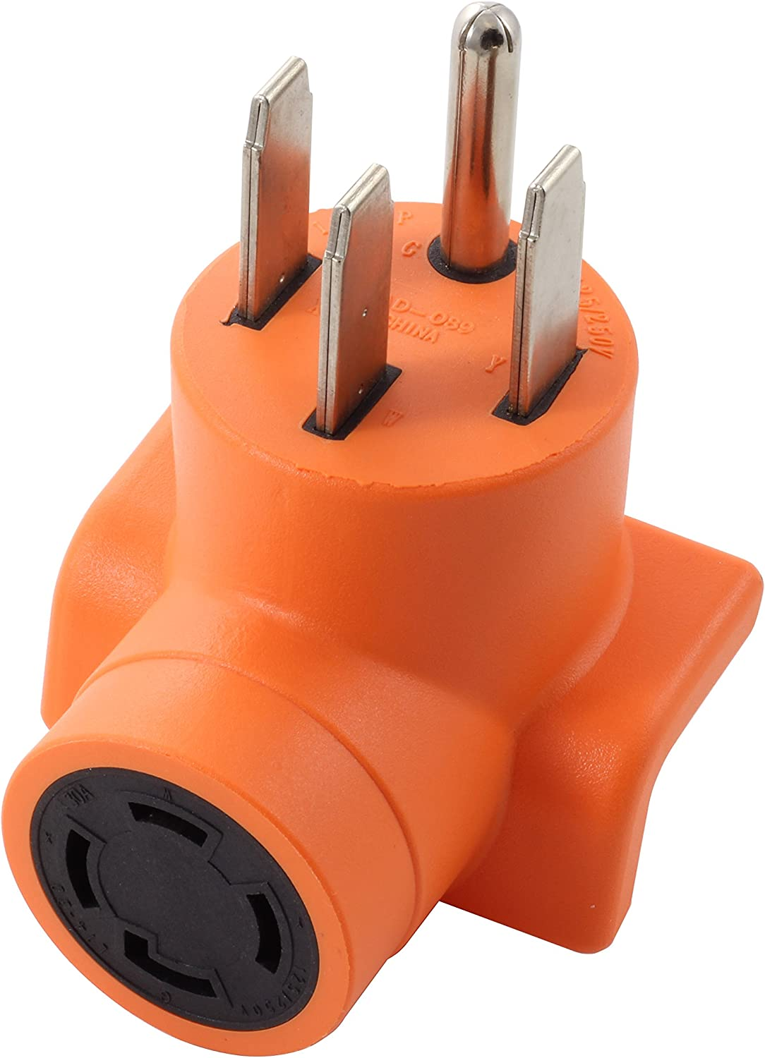 AC WORKS [AD1450L1430] Range/RV/Generator Outlet Adapter 4-Prong 14-50P Plug to 4-Prong 30Amp Locking L14-30R Adapter