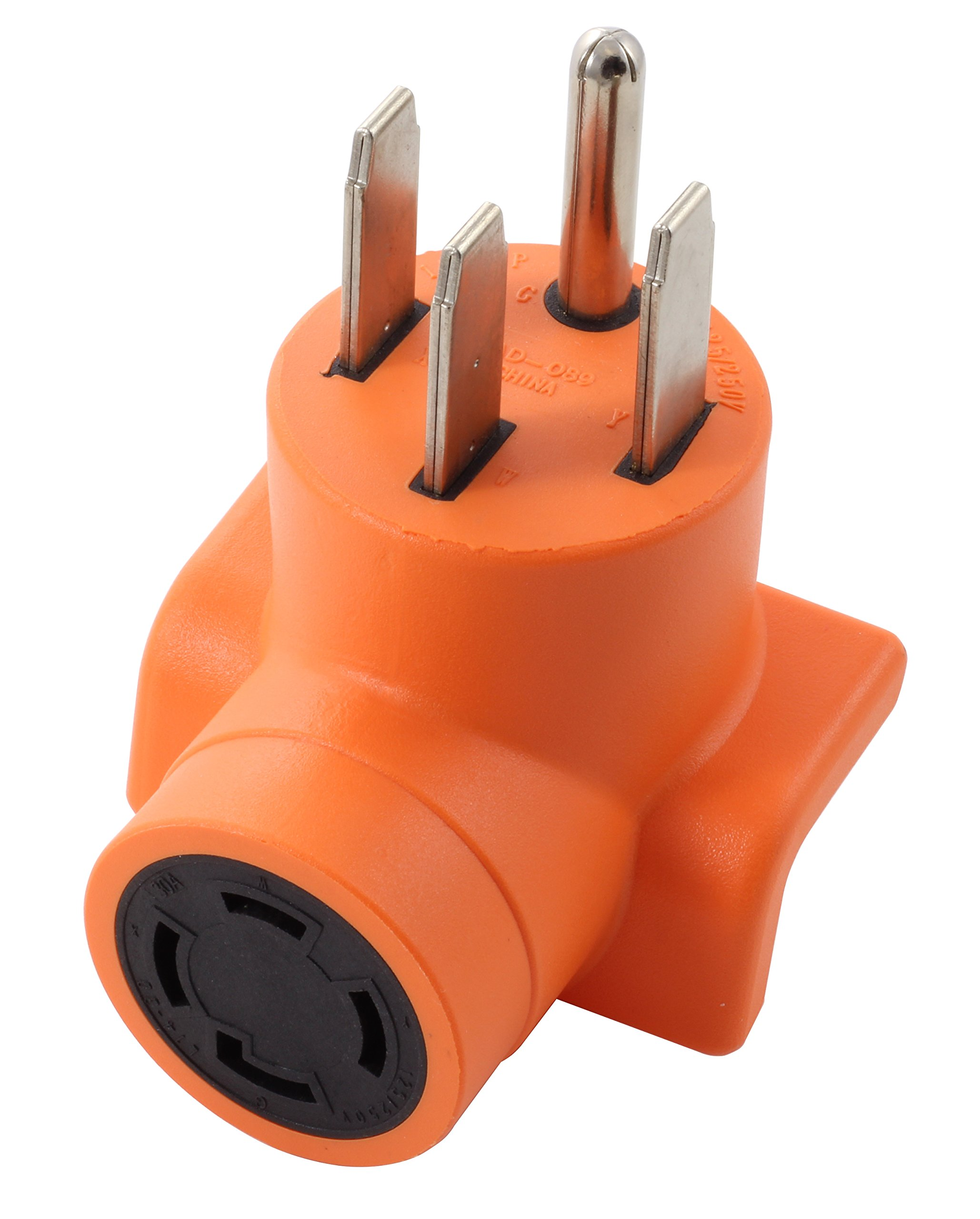 AC WORKS [AD1450L1430] Range/ RV/ Generator Outlet Adapter 4-Prong 14-50P Plug to 4-Prong 30Amp Locking L14-30R Adapter
