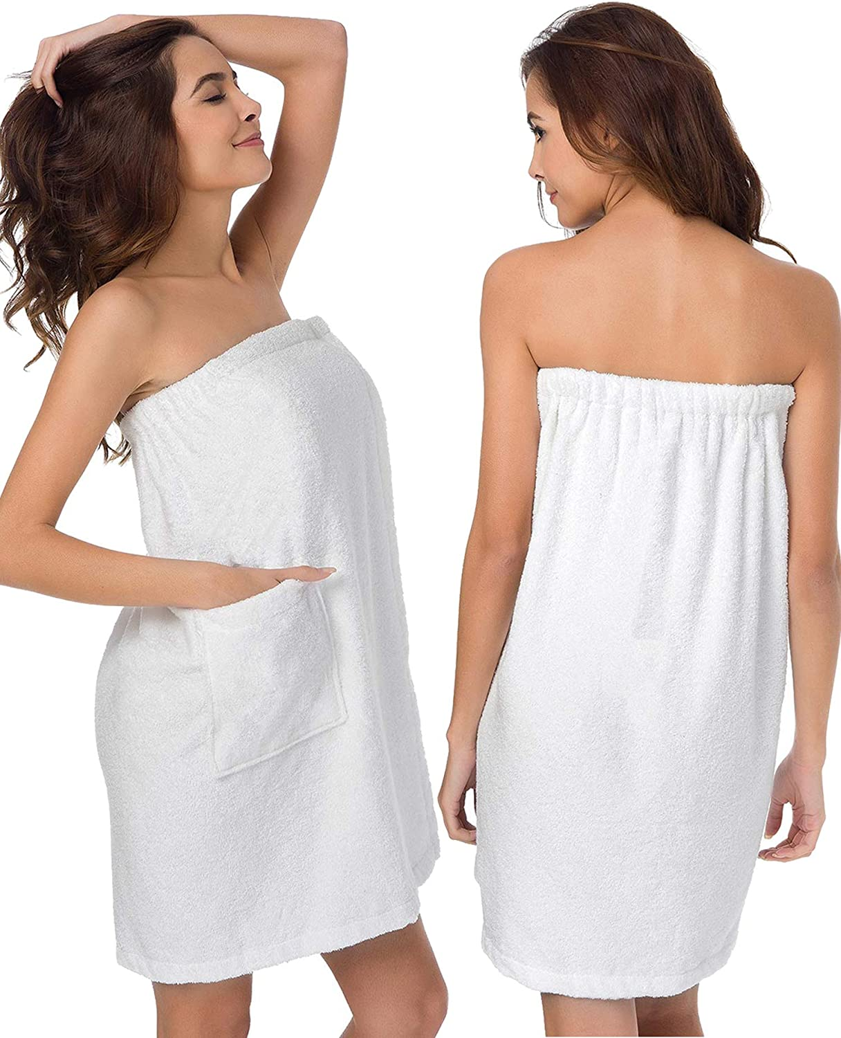 SIORO Towel Wraps for Women Bamboo Cotton Towelling Spa Wraps with Closure and Pocket Bath and Shower Robe Dress
