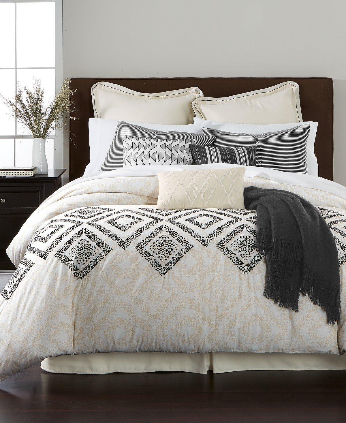 Martha Stewart Rough Diamond 10-Piece QUEEN Comforter Set White Black