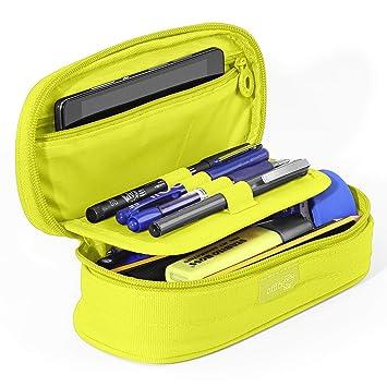 PracticOffice - Estuche Multiuso Megapak Oval para Material Escolar, Neceser de Viaje o Maquillaje. Medida 22 cm. Color Verde Lima