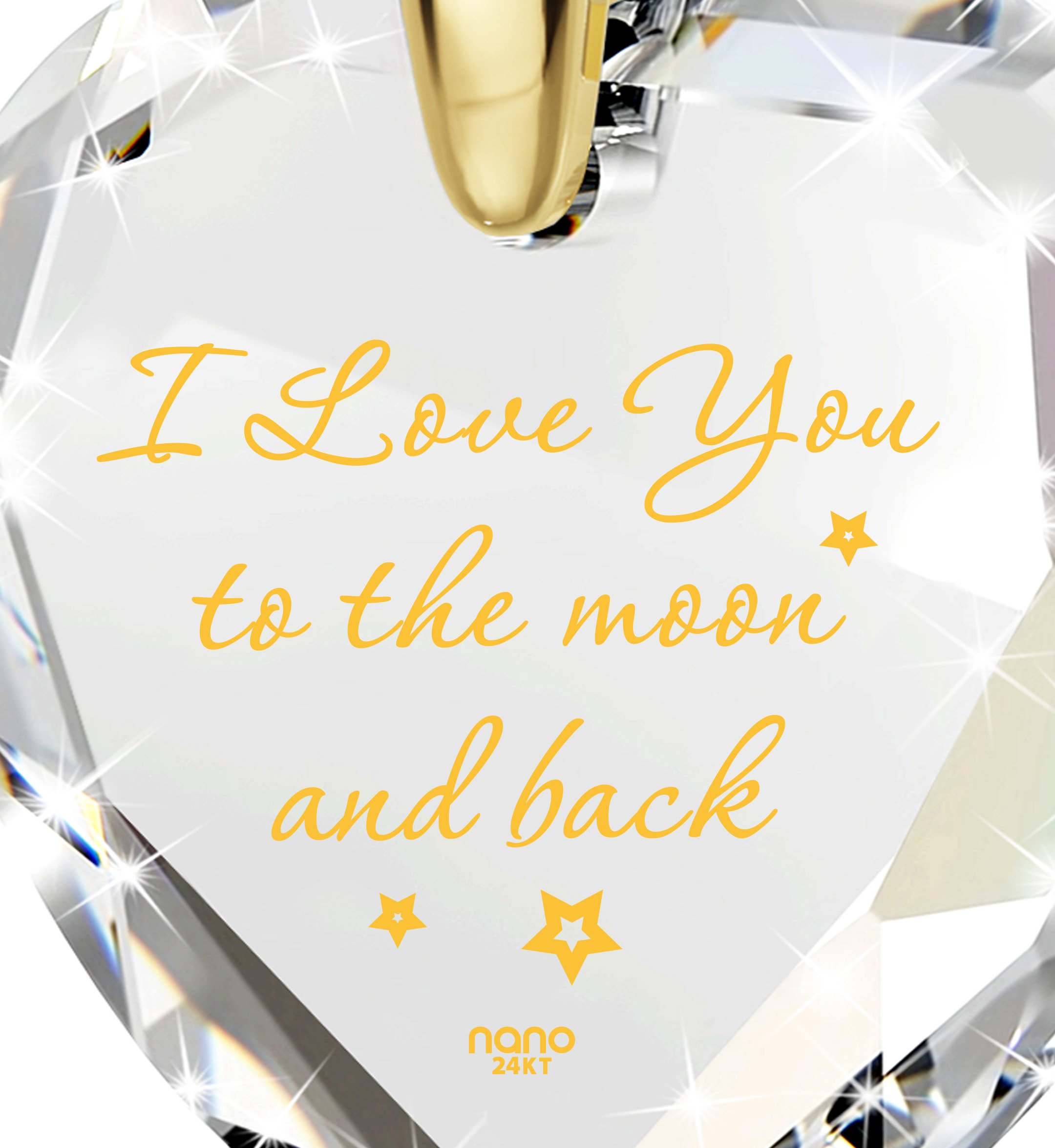 Heart Jewelry Set CZ I Love You to the Moon and Back Necklace and Crystal Earrings, 18'' Gold Filled Chain by Nano Jewelry (Image #3)