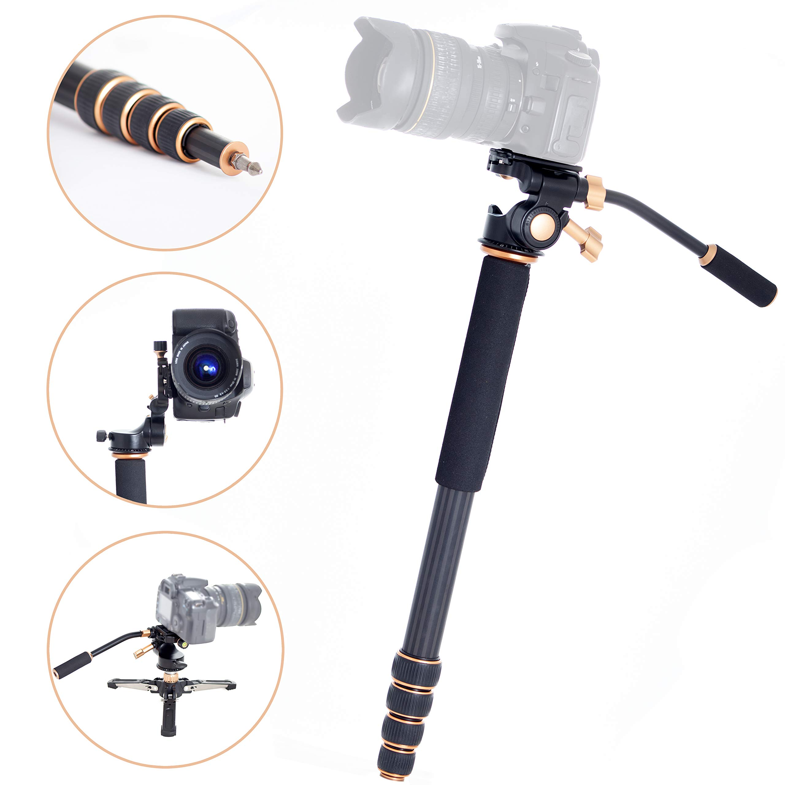 SenseiPhoto Professional Carbon Fiber Monopod Kit with Photo and Video 3-Way Head & Multi Direction Fluid Base for DSRL Cameras and Videocameras Pole Stick