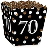 Adult 70th Birthday - Gold - Party Goodie Favor Boxes - Birthday Party Treat Candy Boxes - Set of 12