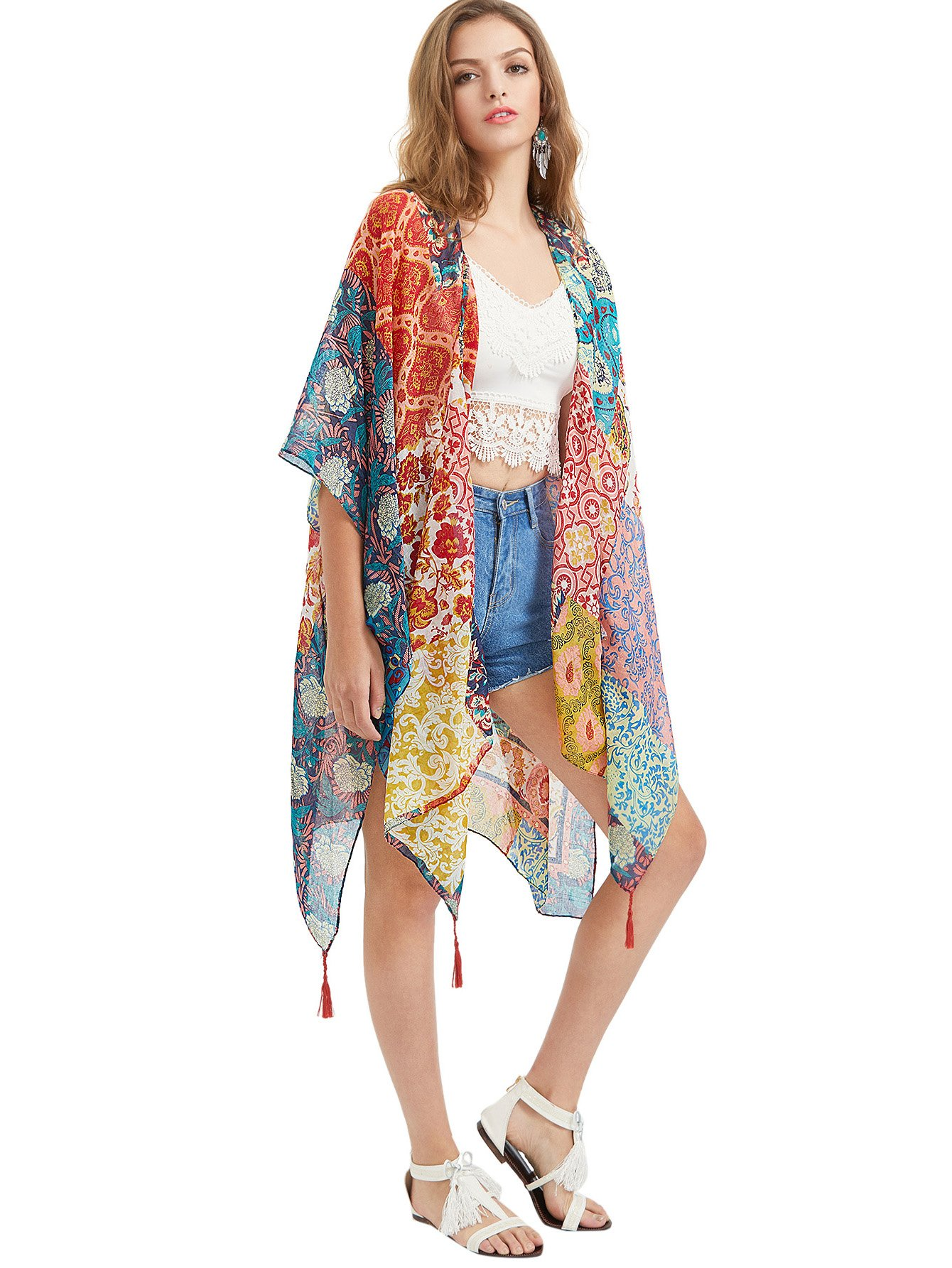 SweatyRocks Women Kimono Vintage Floral Beach Cover Up (One Size, Multicolour)