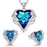 CDE White-Gold-Plated-Base Heart-Shape Round-Shape Purple Blue Yellow NA B_White Gold Plated | Blue