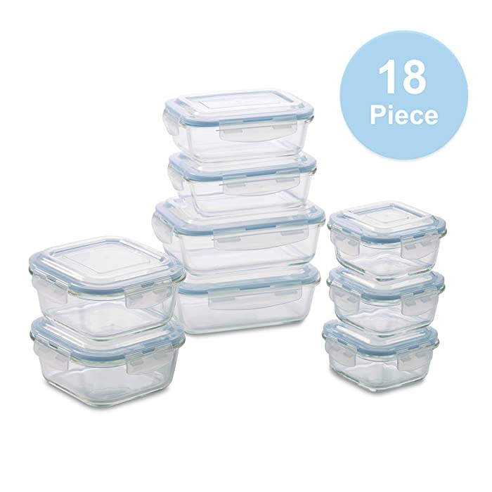 1790 Glass Food Storage Containers - 18 Piece - BPA Free - Dishwasher Safe - Oven Safe - Airtight Seal - Reusable Food Container Set - Use for Home, Kitchen and Restaurant