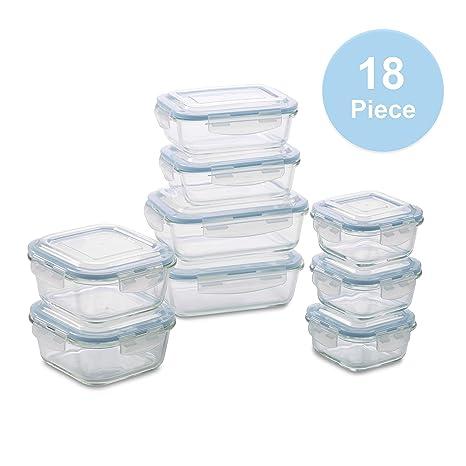 Amazon Com 1790 Glass Food Storage Containers 18 Piece Bpa Free