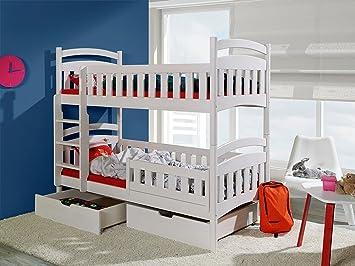 Etagenbetten Hochbetten : Massivholz kiefer 190x80 weiss etagenbett 2 liegeflächen inkl