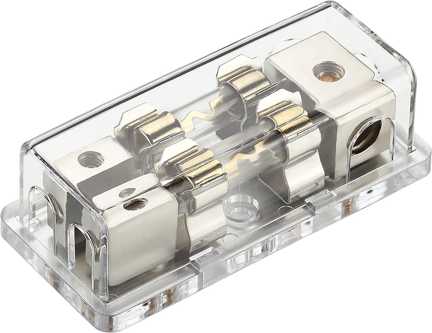 Freajoin 4//8 Gauge AWG AGU Fuse Holder Fused Distribution Block 4 Gauge in to 2 x 8 Gauge Out with 2PCS 60A Gold-Plated Fuses