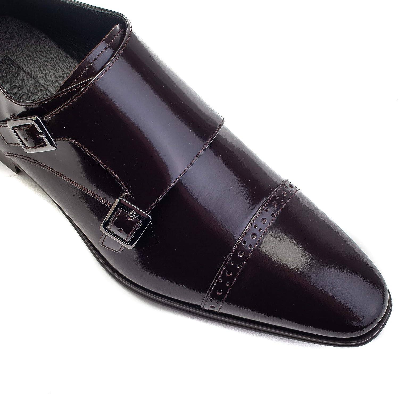 Versace Collection Men's Leather Monk Oxford Brogue Monk Leather Strap Dress schuhe Dark braun 5e3d4b