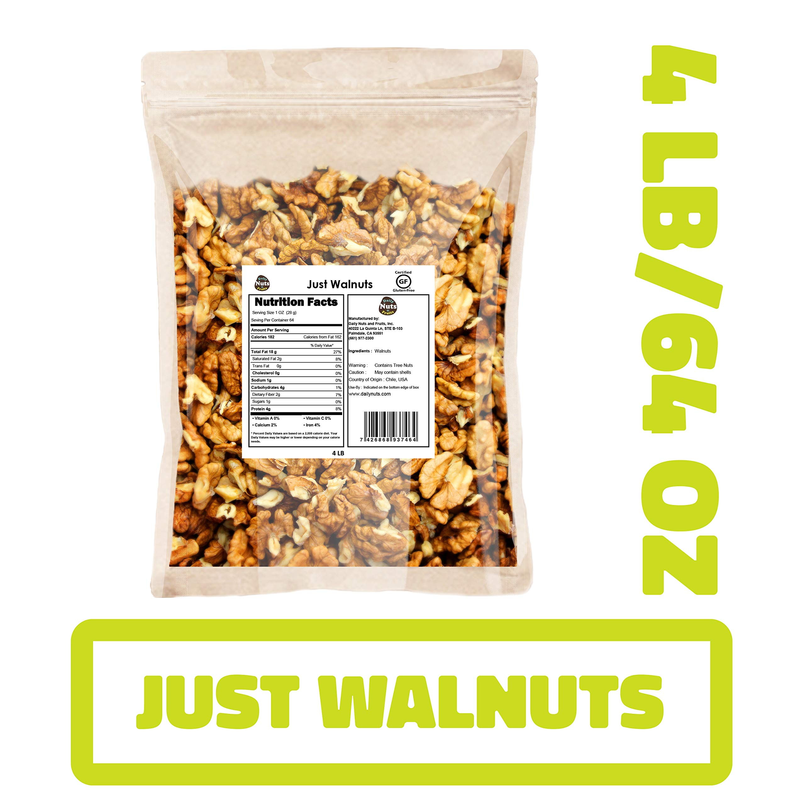 Daily Nuts & Fruits 4LB DAILY NUTS''JUST WALNUTS'' BULK/SUPER FOOD/EXTRA LIGHT COLOR (KOSHER CERTIFIED) by DAILY NUTS & FRUITS