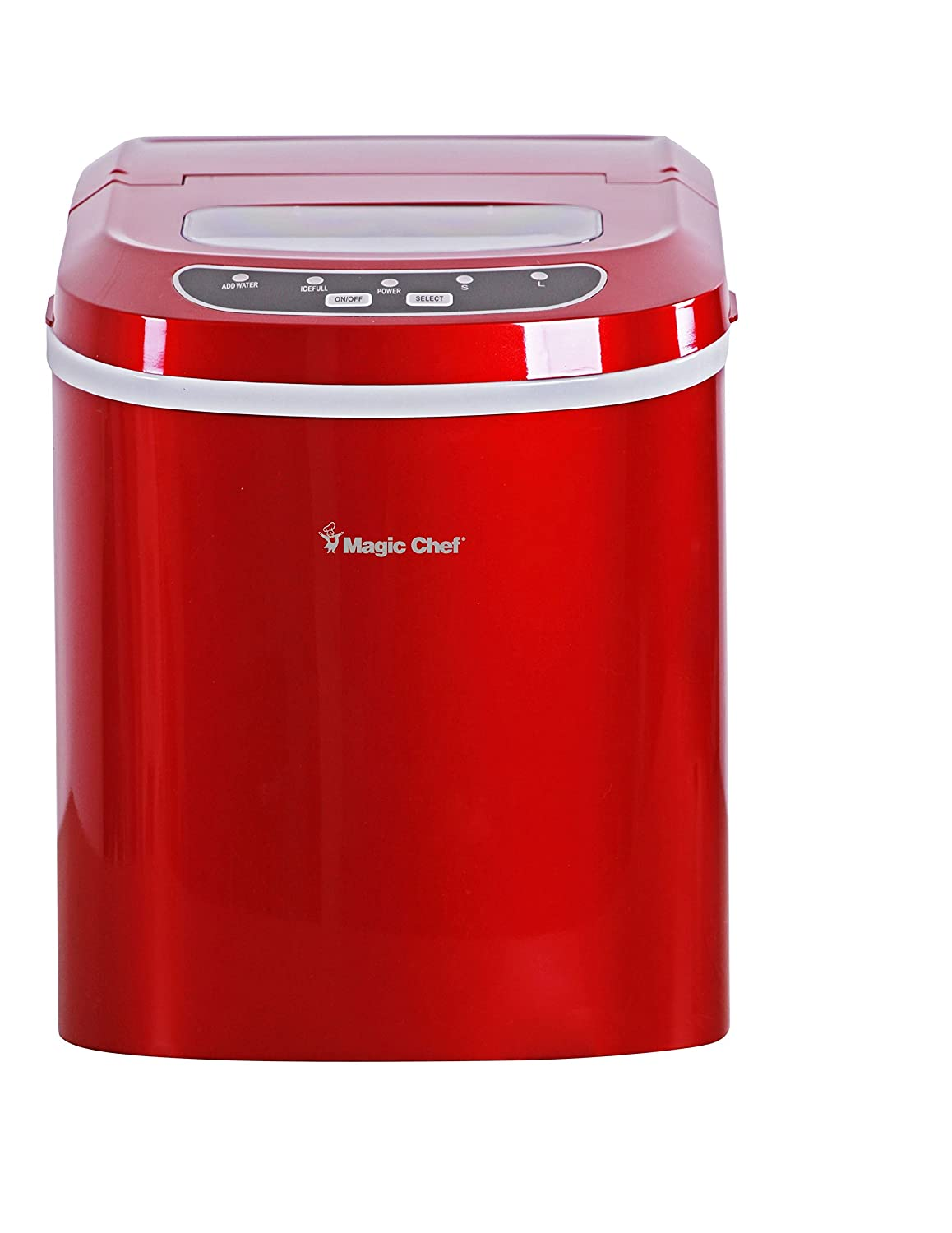Magic Chef MCIM22R 27-Lb. Portable Red Countertop Ice Maker 27 lb,