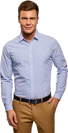oodji Ultra Hombre Camisa de Algodón a Rayas