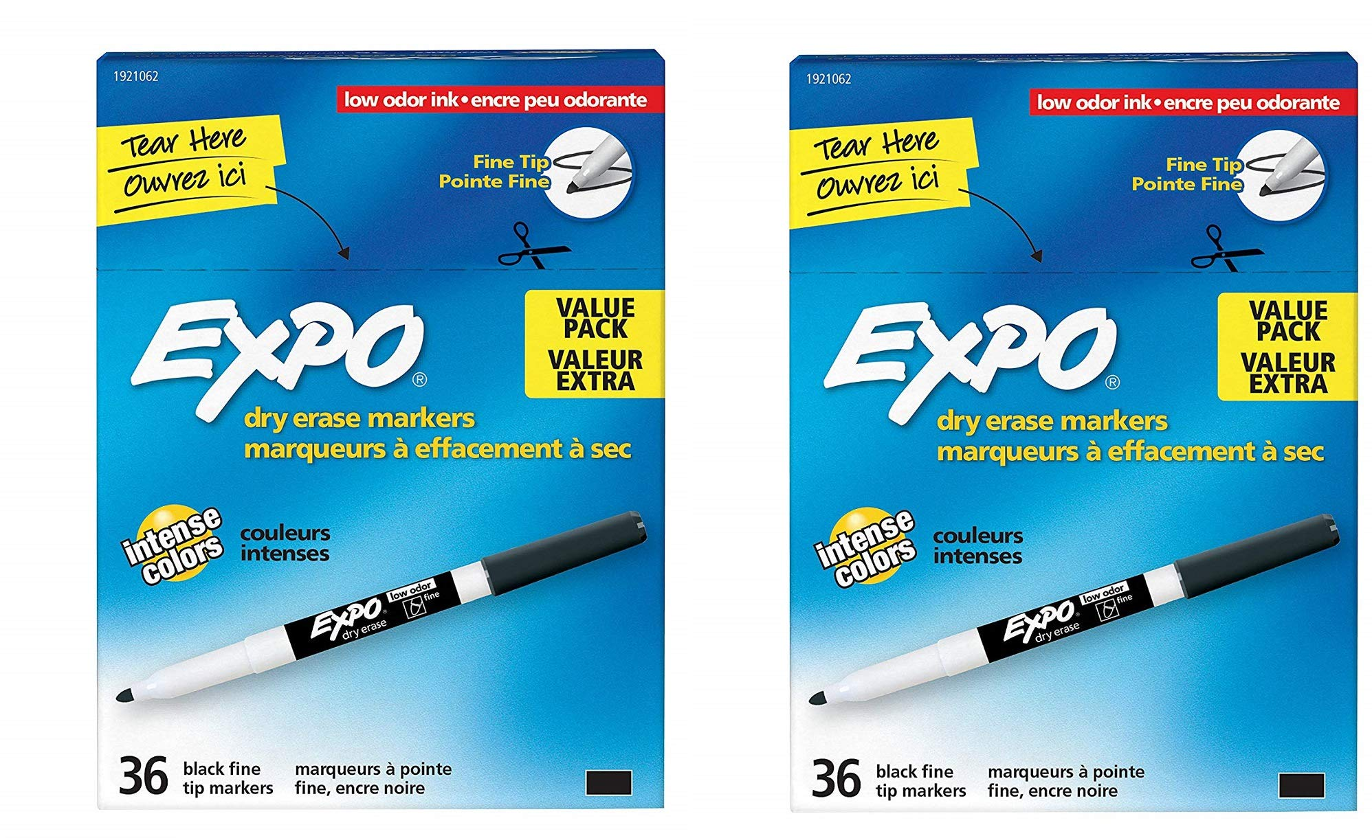 EXPO 1921062 Low-Odor Dry Erase Markers, Fine Tip, Black, 2 Packages (36-Count) by Expo (Image #1)