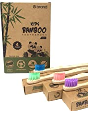 KIDS Bamboo Toothbrush, Soft Bristle Toothbrush, 4 PACK, Eco Friendly & Natural, BPA Free, Wooden Toothbrushes, Zero Waste Products, Organic, Vegan, Tooth Brush, Non Plastic, Environmental
