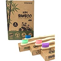 Bamboo Toothbrush KIDS, 4 Pack, Eco Friendly & Natural, BPA Free, Wooden Toothbrushes, Zero Waste Products, Organic…