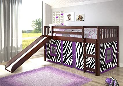 Amazon Com Donco Kids Twin Mission Zebra Tent Loft Bed With Slide