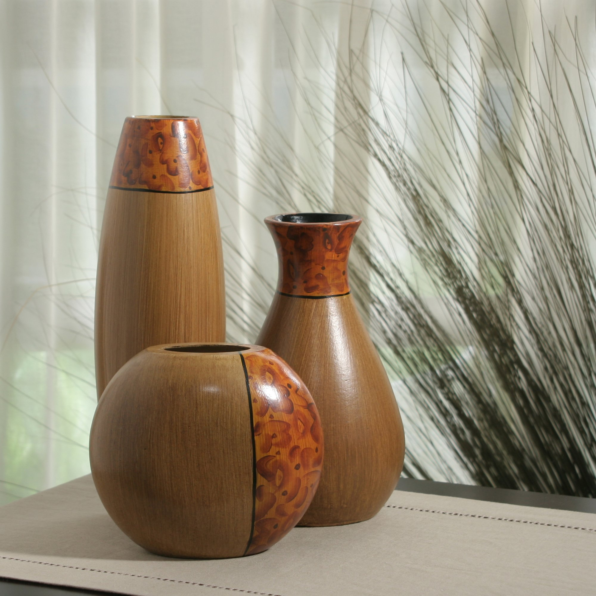 Hosley's Set of 3 Burlwood Vases. Ideal Gift for Wedding or Special Occasion and for Home Office, Decor, Floor Vases, Spa, Aromatherapy Settings O3 by Hosley (Image #4)