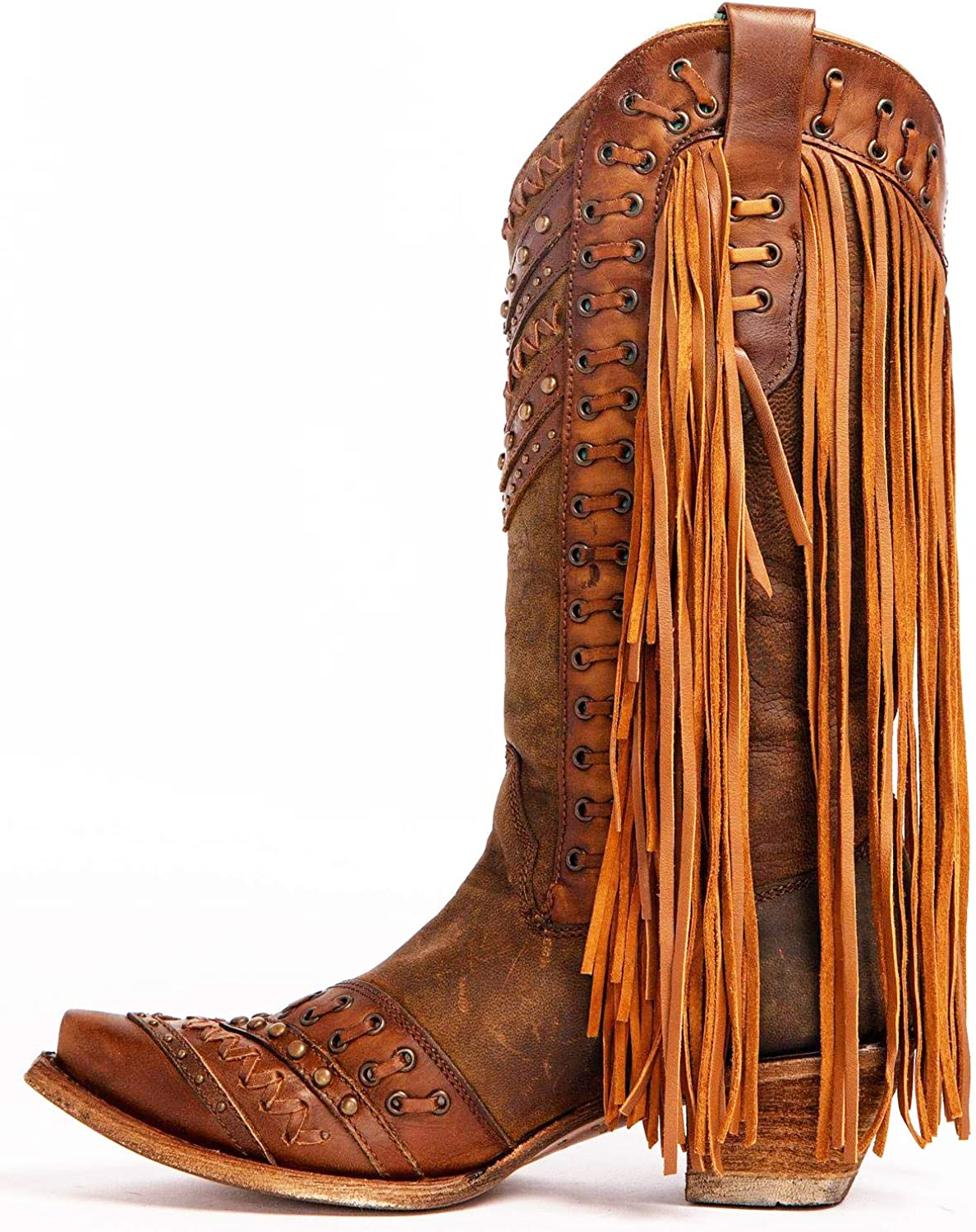 CORRAL Womens Mayela Woven /& Fringed Snip Toe Cowboy Leather Boots 6 Wide Brown//Tan