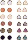 XINBOO 12 Pairs Druzy Stud Earrings for Women Girls 12mm Round Triangle Resin Cluster Stud Earrings Set Stainless Steel Pierced Gold Black Multicolor