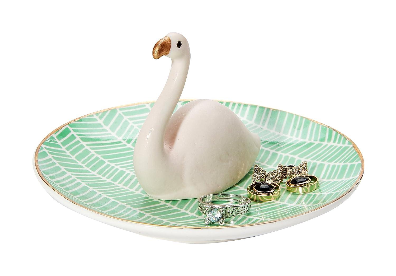 WANYA Ceramic Flamingo Ring Holder Dish, Jewelry Organizer, Tropical Design