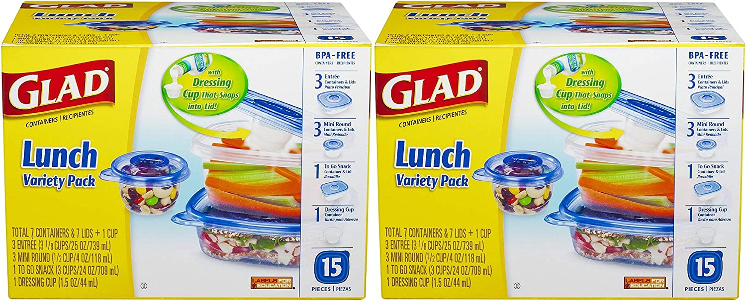 Glad Food Storage Containers, Lunch Variety Pack, 15 Count (Pack of 2 Sets)