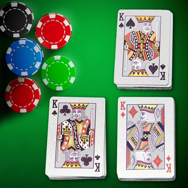 Winthai 2Pack Impermeable Oro Foil Poker Jugando Cartas para Navidad Presenta Relleno de Medias Fiesta Juegos de Cartas Set B