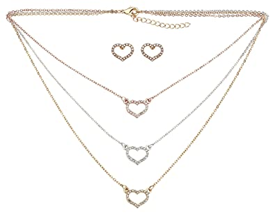 HO-Ersoka Damen Schmuck-Set Collier 3-Fach Halskette Ohrringe Strass Herz-Form  Gold  Amazon.de  Schmuck 8f0c5b896e