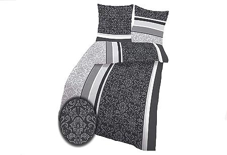 2 teilige Bettwäsche 135x200cm Barock grau schwarz Baumwolle Renforce