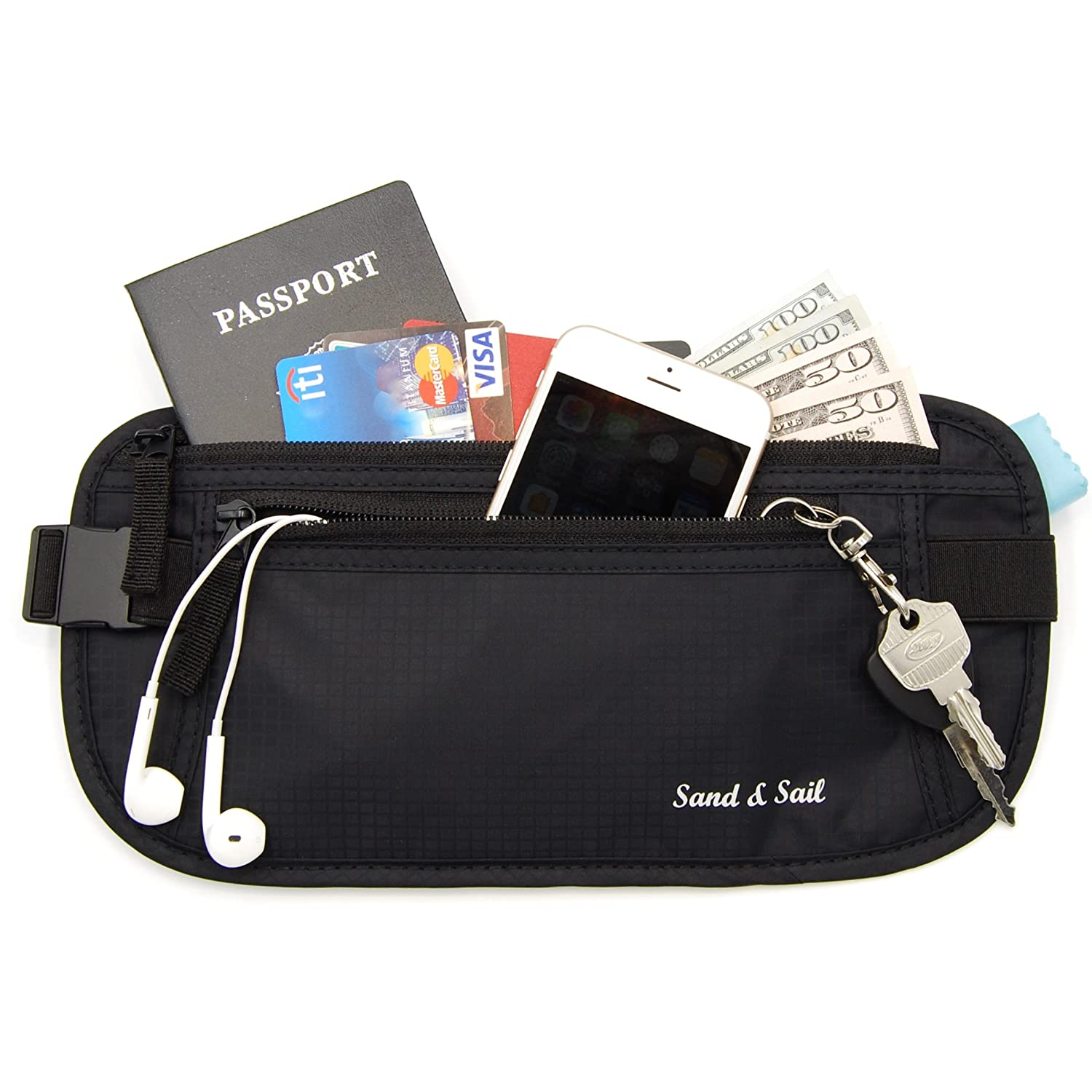 Sand & Sail Travel Hidden Money Belt with RFID Block - Security for Passport, Credit Cards & Cash SS-0001