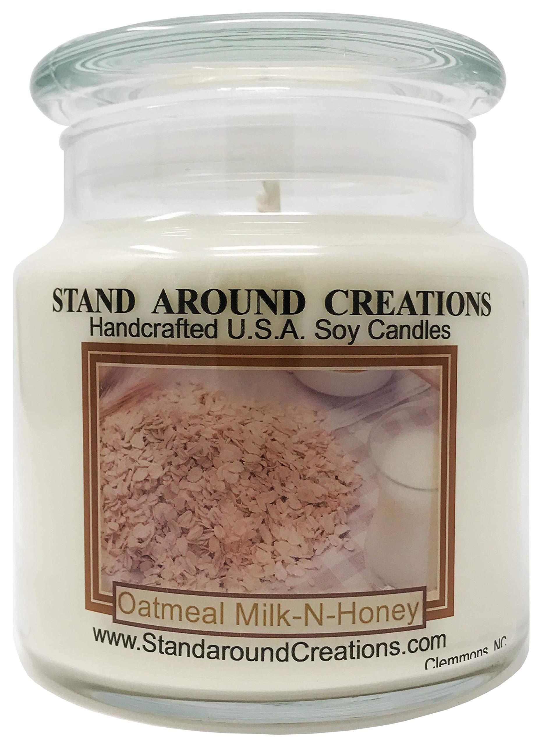 Premium 100% All Natural Soy Apothecary Candle - 16 oz. - Oatmeal Milk & Honey: A rich blend of oatmeal, farm fresh milk and a dollop of honey.