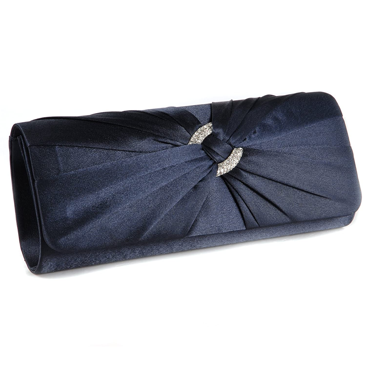 d854b4c2396 Anladia Satin Diamante Pleated Evening Clutch Bag Bridal Handbag Prom Purse  (Navy Blue): Amazon.in: Shoes & Handbags
